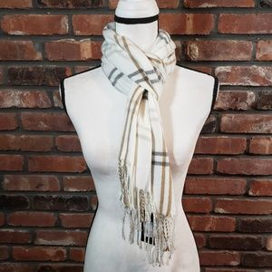 "NWT Cejon 64"" x 11"" Plaid Scarf with Fringe"